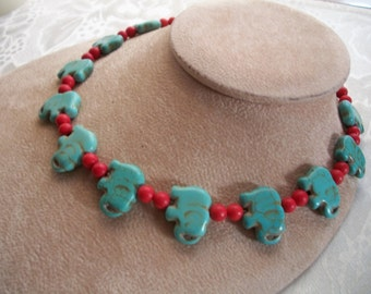 Elephant Gemstone Necklace, Turquoise & Coral, Beaded Necklace, by Brendas Beading on Etsy