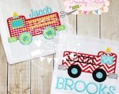 Firetruck 2 Applique Machine Embroidery Design INSTANT DOWNLOAD