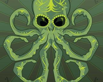 H.P. Lovecraft's Cthulhu Sugar Skull 11x14 Print