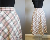 Tweed Plaid Skirt Vintage Midi Preppy Circle 1970s XS