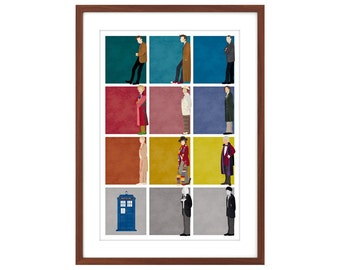 24x36 Doctor Who poster - the first 11 Doctors + the TARDIS