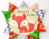 Fox Baby Shower Corsage  - Woodland Animals Theme Mommy To Be Mum Pin  -  Ready To Ship