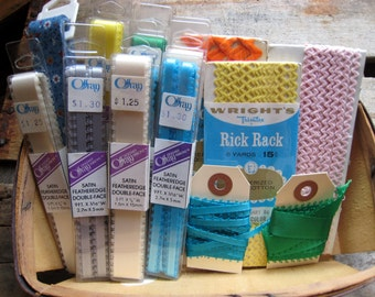 Lot of Offray Ribbon Satin Featheredge Double-Face & Vintage Wright's Rick Rack - Variety of Colors