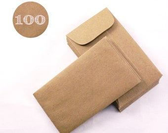 Coin envelopes - Set of 100 Recycled Kraft Brown  - Business card envelopes - with gummed flap - 2-1/4 x 3-3/4