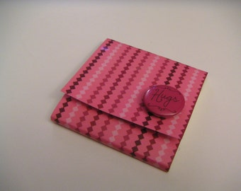 Pink and Brown Diamond Striped Sticky Notes Pad with Dark Pink Button - Hugs
