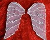 WHITE sparkle Wings Sew-on applique