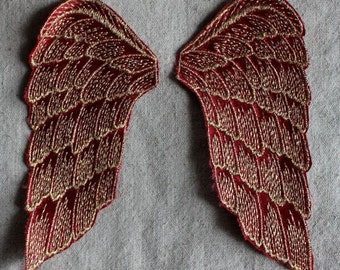 RED and GOLD Wings Sew-on applique