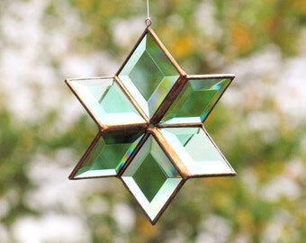 Glass Star Suncatcher Geometric Green Glass and Copper Color Indoor Outdoor Garden Art