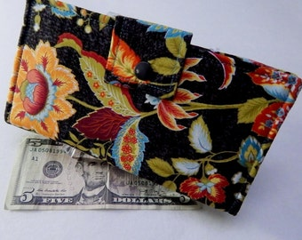 Floral Wallet, Bifold Clutch Wallet, Large Flowers Bifold, Black, Turquoise Vegan Wallet, Phone Wallet Made in USA