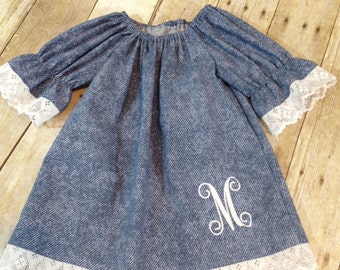 Just cute! Denim look cotton fabric peasent dress