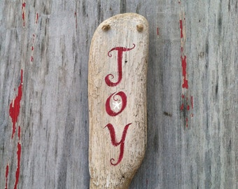 Hand Painted Rustic driftwood Joy starfish Ornament Sign,  Coastal Cottage,Christmas Home Decor, Home And Living, Ornaments And Accents