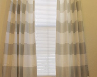 Horizontal stripe curtain panels in french grey and white