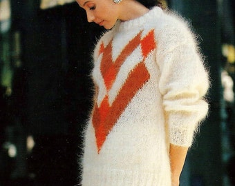 mohair sweater pattern - vintage knitting pattern - 80s oversized knit sweater pattern - 28 to 40 bust