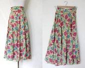 S A L E // vintage late 1940s floral cotton circle skirt XS
