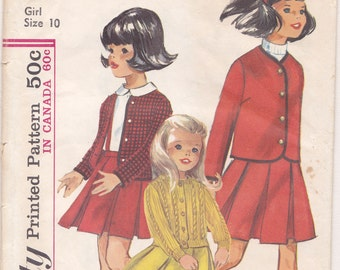 Girl's SKIRT and JACKET PATTERN, Simplicity 6153, Child Size 10, Knitting Guide for Sweater, 1965, Vintage Sewing Instructions