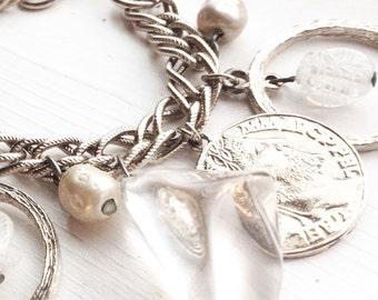 Chunky Charm Bracelet / Vintage / Clear / Coins / Silver