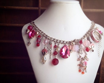 Pink Charm Necklace / Handmade Fuchsia and Shades of Pink Rhinestones Findings and Vintage Pieces / Chunky Statement Wedding Jewelry