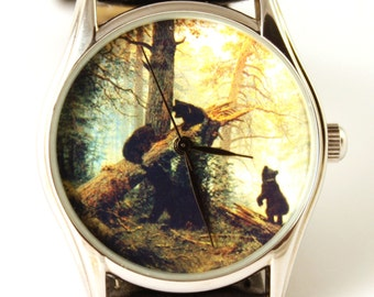 Watch Morning in a Pine Forest, Shishkin oil painting picture, ladies watch, men's watch, bears, bear