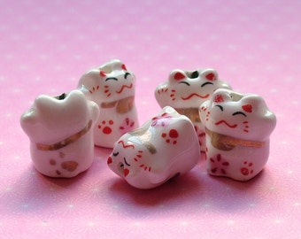Japanese Maneki Neko lucky cat beads set of 5