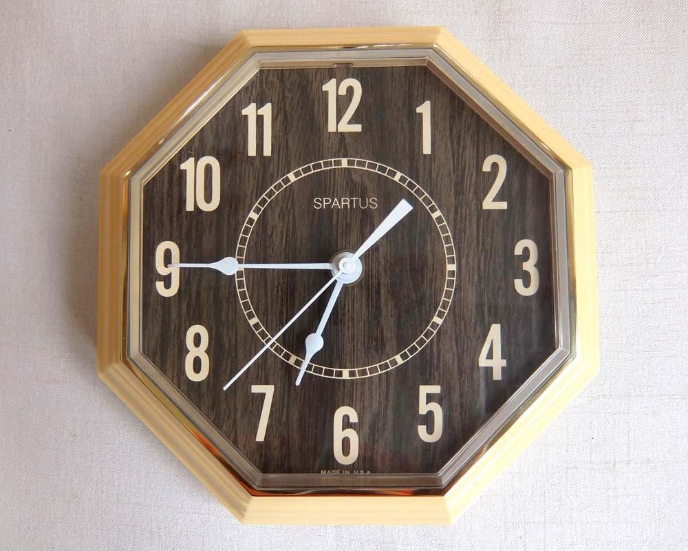 Vintage Octagonal Shaped Wall Clock With Imitation Wood Grain