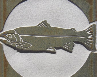 4x4 Steelhead Salmon - Etched Porcelain Tile - SRA