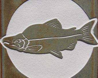 4x4 Sockeye Salmon - Etched Porcelain Tile - SRA
