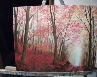 Red, Maple, Trees, Path, Fall, Autumn, Leaves, Nature, Road, Woods, Forest Original Landscape Oil Painting