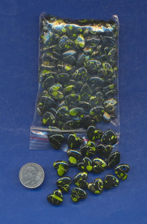 150 Pack Of Acrylic Black Green And Gold Colored Heart