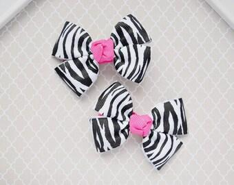 Baby Zebra Hair Bow, Toddler Girl Zebra Hair Barrette, Animal Print Hair Accessory, Black and White Hair Bow, Zebra Stripe No Slip Hair Bow