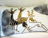 Mid Century Modern Pillow Cover - Metallic Gold Deer - Rare Vintage Fabric - Blk, Wht, Metallic Gold - INCLUDES Pillow INSERT - Only 2 LEFT!