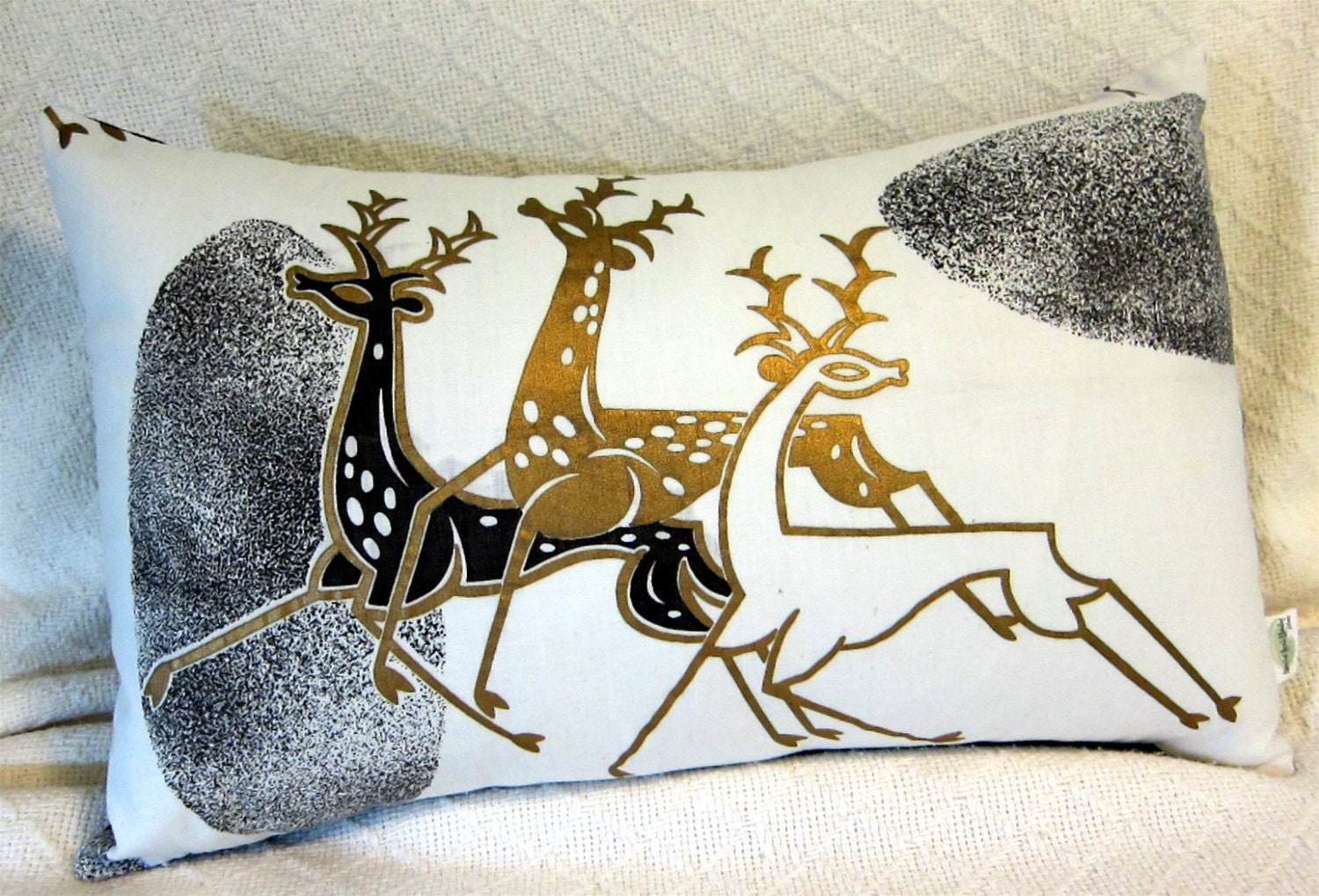 Mid Century Modern Christmas Pillows : RESERVED for Cindy Only MCM Pillow Cover Metallic Gold