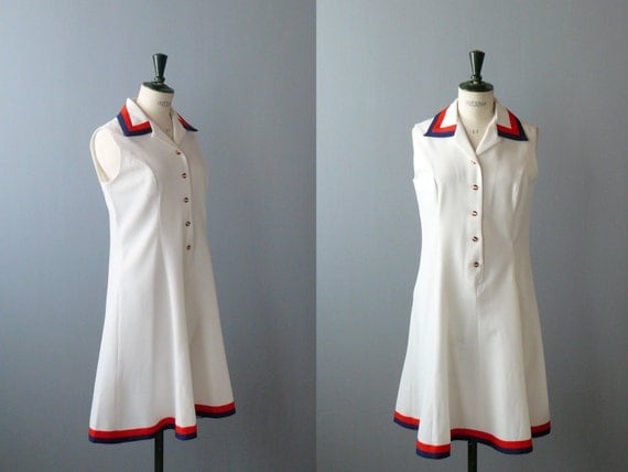 Vintage white dress. 1960s dress. Nautical blue and red dress