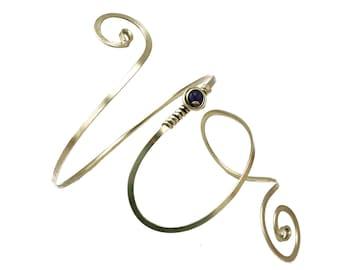 Spiral Arm Band, Upper Arm Cuff, Upper Cuff Bracelet, Wire Armlet, Amethyst Stone, Boho Chic, Upper Cuff, Silver Arm Bangle, Arm Bracelet