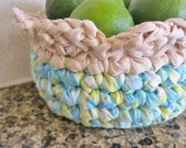 Ready To Ship Cotton Catch all Fabric Crochet Lemon - Lime Basket / Bowl for kitchen or bathroom from recycled fabric