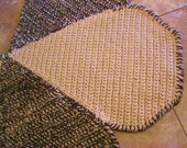 New Ready To Ship Crochet Decorative Teardrop Rug in Cream and Chocolate Brown by mrsginther