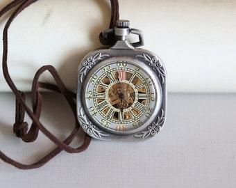 Brass Mechanical Pocket Watch,Steampunk Pocket Watch,Pocket Watch Chain,Groom Gift,Groomsmen Gift