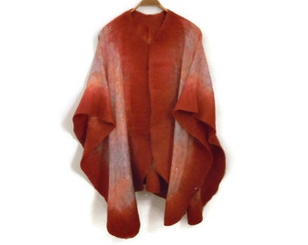 silk poncho with felted edges, brique