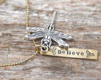 SALE Dragonfly Believe Necklace