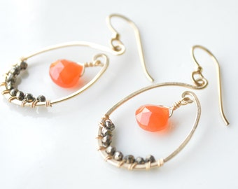Oval Hammered Hoops with Carnelian & Pyrite - Fall Inspired Jewelry