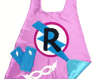 Girls SUPER HERO CAPE Set - Customized Gift - Choose the Initial - Includes Cape + Bolt Mask + Power Gloves - Orchid and Turquoise