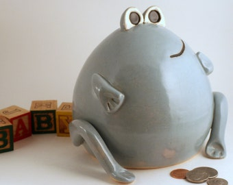 Frog  Coin Bank Sculpture in Baby Blue
