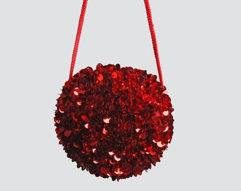 Vintage 90s Red Sequin PURSE / 1990s Beaded Round Crossbody Bag