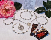 Stunning Five-Decade Rare Luster Glass Wedding Cake Bead Catholic Rosary