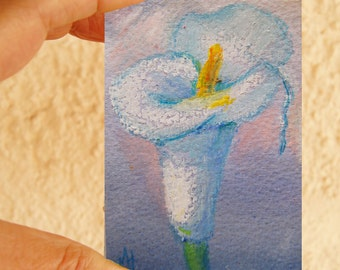 Original floral ACEO painting, Miniature art trading card, original ATC painting - Calla lily oil pastel flower painting on watercolor paper