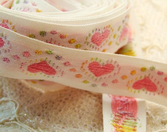 Vintage Pink Heart Polka Dot Embroidered Jacquard Ribbon Trim Half Inch wide -2 yards