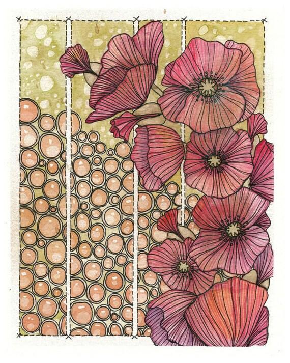 Original Art Mixed Media Watercolour Painting - Poppies