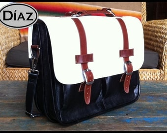 DIAZ Small Geunine Leather Briefcase / Backpack Laptop Messenger Bag Satchel in White / Brown / Black - (13in MacBook Pro)