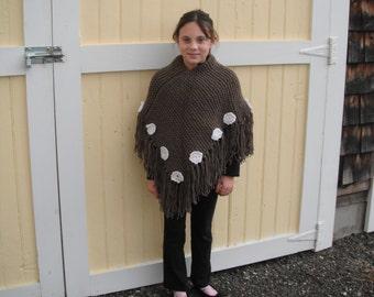 Little Girl's Knitted Poncho / Handknit Poncho / Girls Poncho