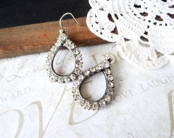 CORA vintage rhinestone teardrop earrings B12 | repurposed | vintage | sterling silver
