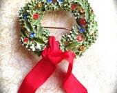 Signed ART Rhinestone Christmas Wreath Vintage Brooch